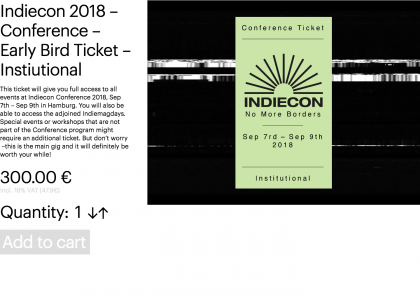 Indiecon 2018 – Conference – Early Bird Ticket – Institutional
