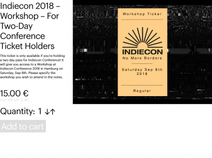 Indiecon 2018 – Workshop – For Two-Day Conference Ticket Holders