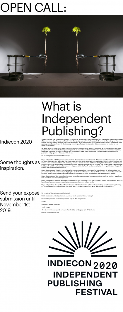 #a OPEN CALL: What is Independent Publishing?